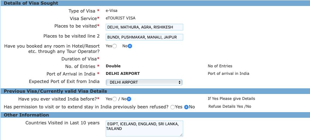 Preguntas para entrar en India